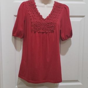 Style & Co. Women's Red Short-sleeved Top
